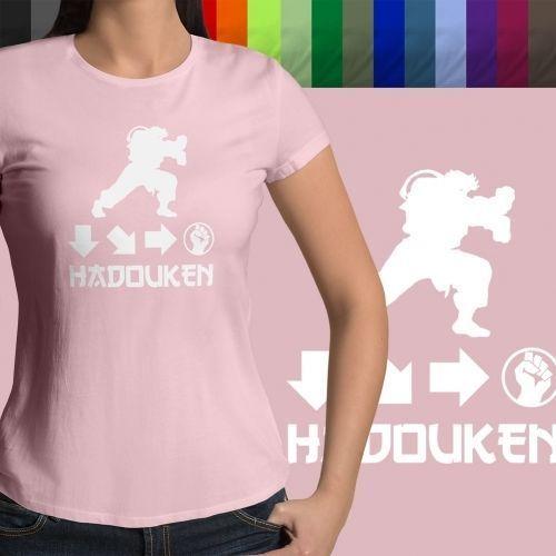 Hadouken Ryu Street Fighter Ken Retro Gaming Crew Neck Womens Juniors T-Shirt
