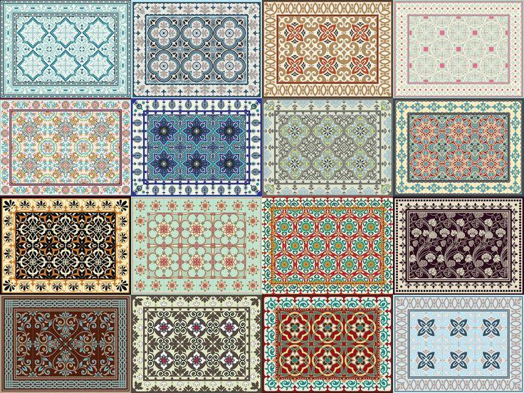 Oriental Retro Mats Tile Rug Carpet PVC Vinyl Floor Door Cleanable Kitchen Salon | eBay