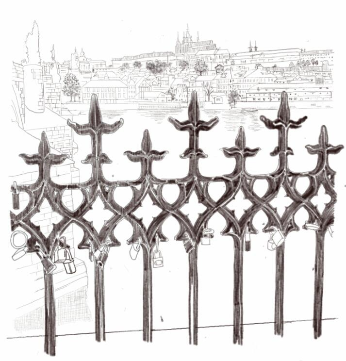 Iron Railings On The Banks of The Vltava River