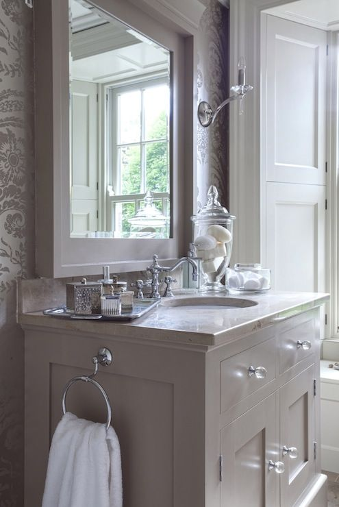 Taupe Sink Cabinet - Transitional - bathroom - Hayburn and Co