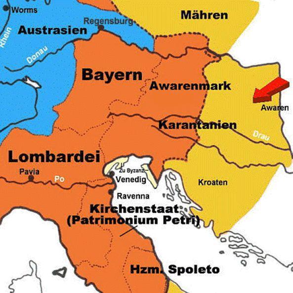 Detailkaart van een stuk gebied veroverd door Karel de Grote. Speciale vermelding van de Avarenmark (markgraafschap van de Avaren) en de Avarenring (rode pijl).