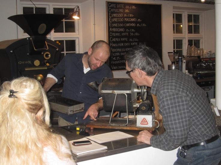 Showing us Prins Henrik of Denmarks old coffee roaster, at Kronborg.