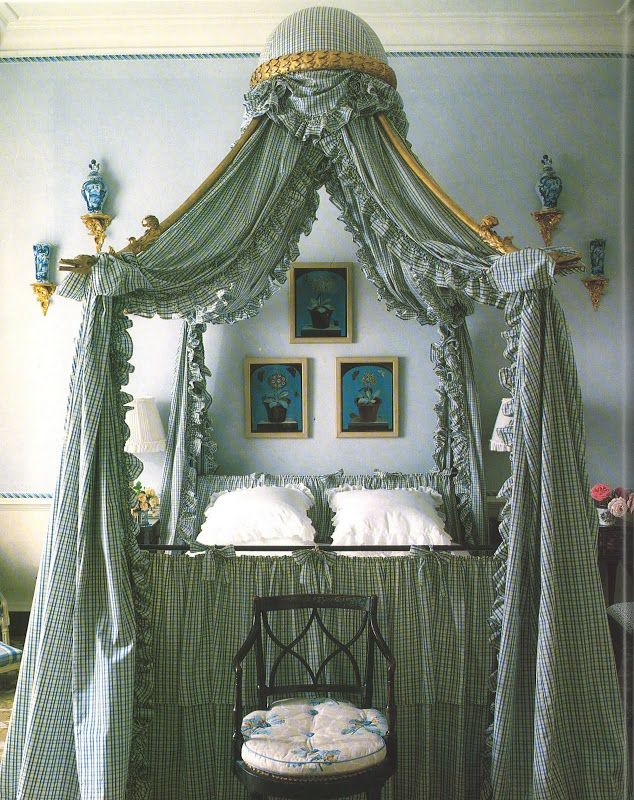 John Fowler Interior Design - An elaborate Polonaise bed. Book: French Essence by Vicki Archer