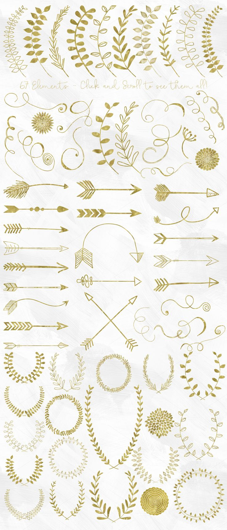 This is a huge collection of high quality gold foil arrows, laurels, wreaths and flourishes. Use them to adorn your invitations, art prints, products and much more! --- WHAT YOU GET: - 20