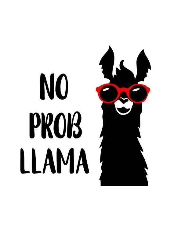fb9bf4dd2bdf Llama svg  No Prob LLama svg  svg file  png file  dxf file  cricut file   silhouette file