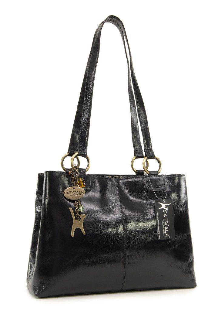 69e3e1606cba Catwalk Collection Big Tote/Shoulder Bag - Bellstone - Vintage Leather -  Black