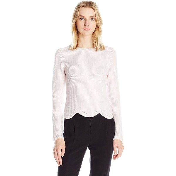 Ted Baker Women's Finda Scallop Edge Detailed Jumper ($195) ❤ liked on Polyvore featuring tops, sweaters, ted baker jumper, wrap jumper, ted baker tops, jumper top and scallop hem top