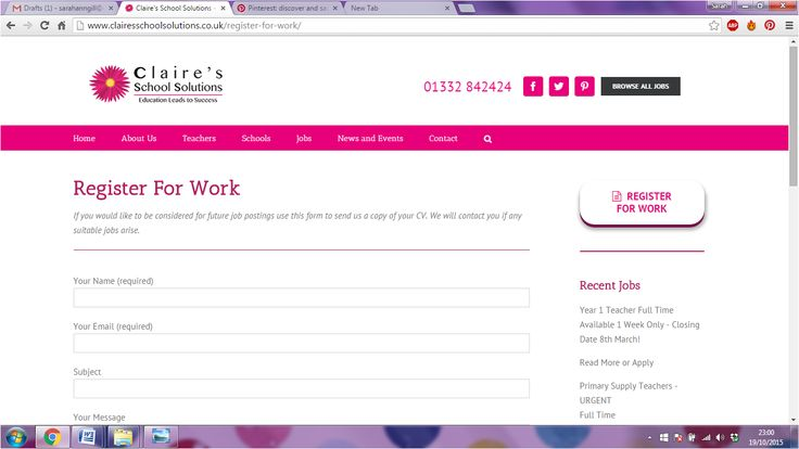 You can now register for work with the click of a button. Easily upload your CV onto our website  http://www.clairesschoolsolutions.co.uk/register-for-work/