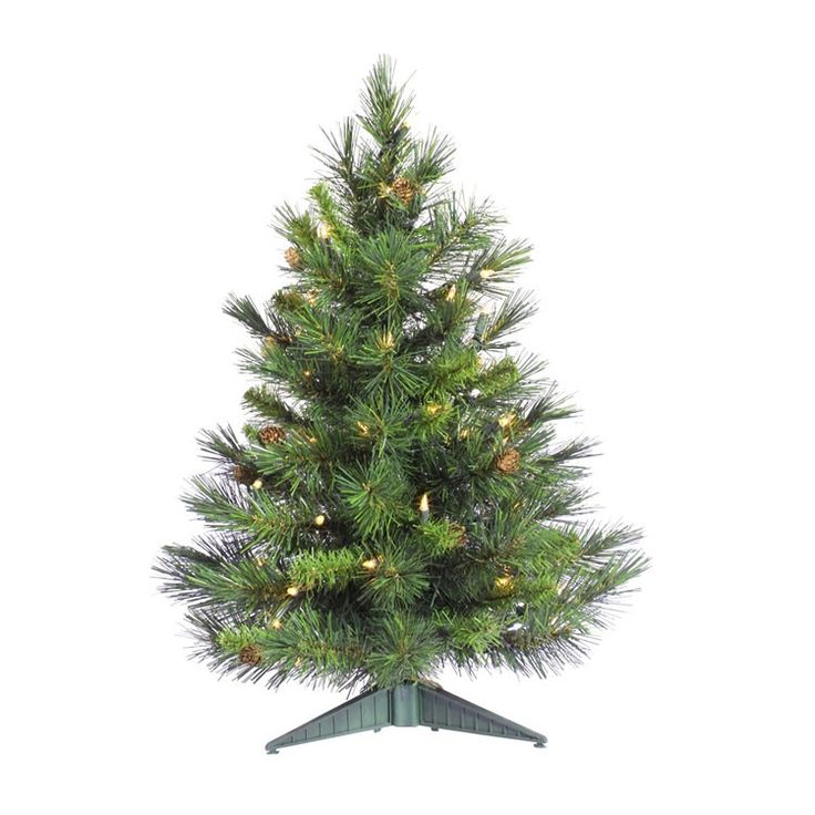 Shop Online For This Fashionable 24 Inch Cheyenne Pine W/Cones Tabletop Tree  Artificial Christmas Tree With 50 Clear Dura Lit Lights And 78 PVC Branch  Tips.