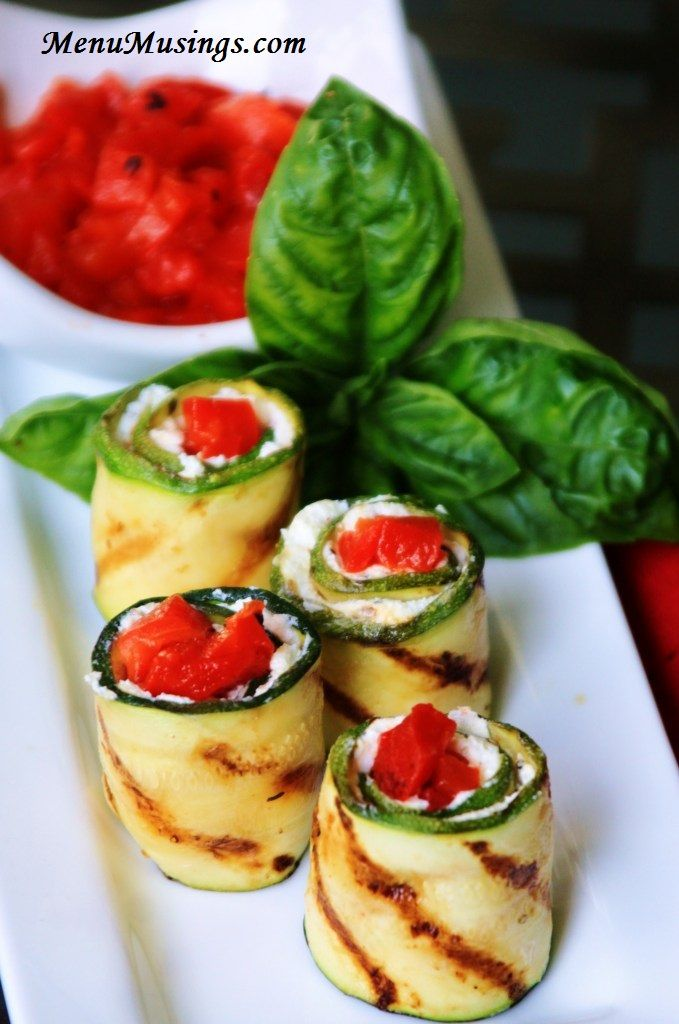 Herbed Goat Cheese & Roasted Red Pepper Grilled Zucchini Rolls (I used a homemade vinaigrette for the zucchini)