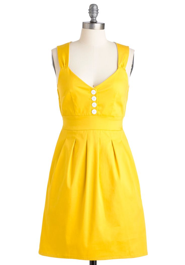 Sundress of My Life - Yellow, Solid, Buttons, Pleats, Pockets, Casual, Vintage Inspired, 50s, A-line, Tank top (2 thick straps), Spring, Summer, Show On Featured Sale, Rockabilly, Pinup, Mid-length, Sweetheart