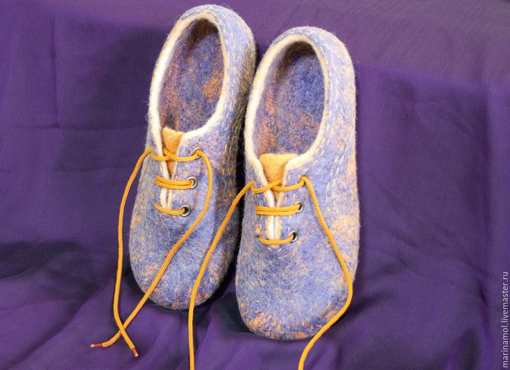 """Купить Женские валяные тапочки """"Чья туфля?"""" - тёмно-фиолетовый, валяные тапочки"""