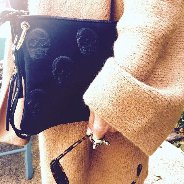 "#Blankens ""The Elsa"" our calf leather skull embossed clutch. #handbags #ootd #clutch"