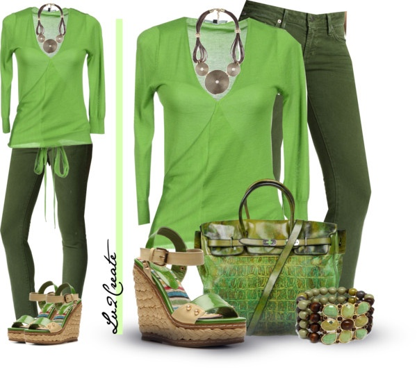 Casual Monochrome Green | Outfits | Pinterest