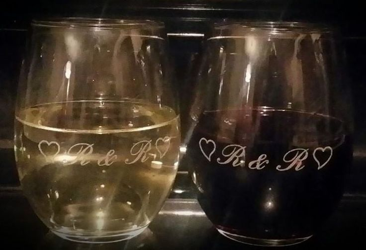 His and her etched / engraved stemless wine glasses. So cute! Perfect unique gift :)