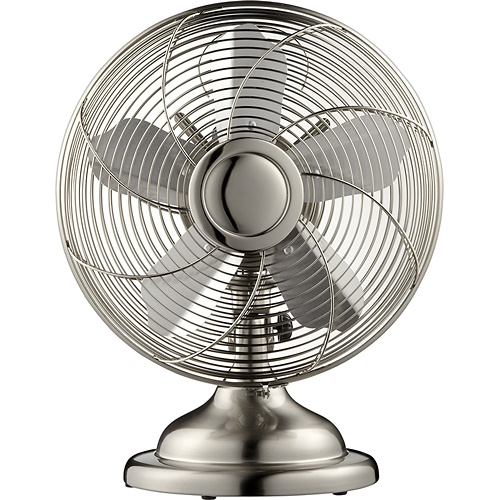 "Init™ - 12"" Retro Table Fan - Stainless-Steel"