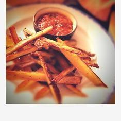 Crispy Potato Sticks With Roasted Tomato Salsa Recipe (via www.foodily.com/r/kAeBUwods-crispy-potato-sticks-with-roasted-tomato-salsa-recipe-by-gluten-free-goddess)