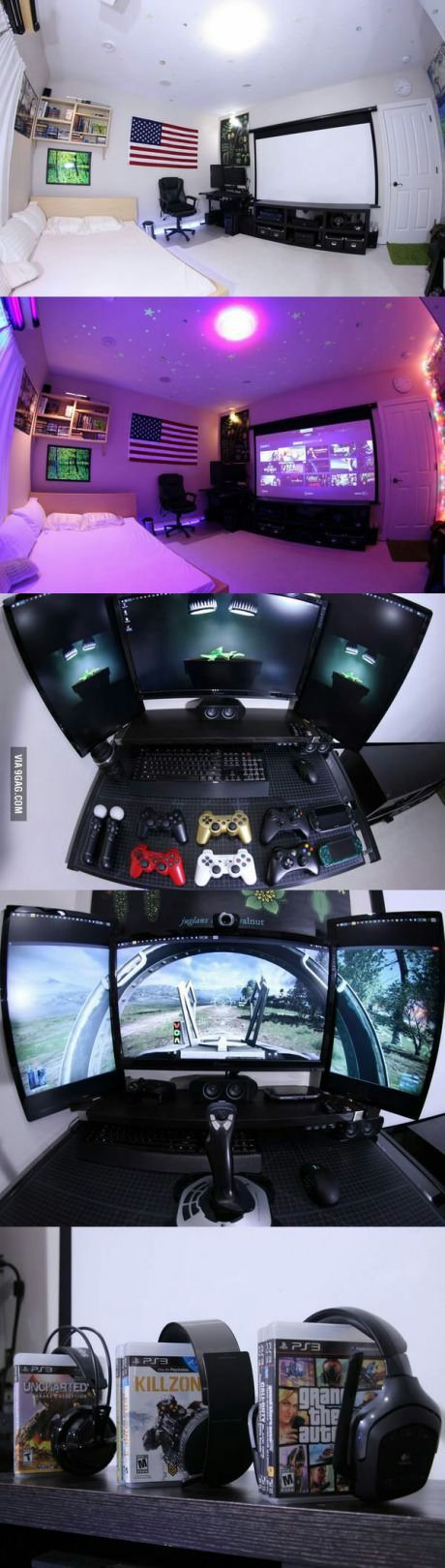 I want this gaming room so bad I really do tho we are one step closer getting screen with taxes!