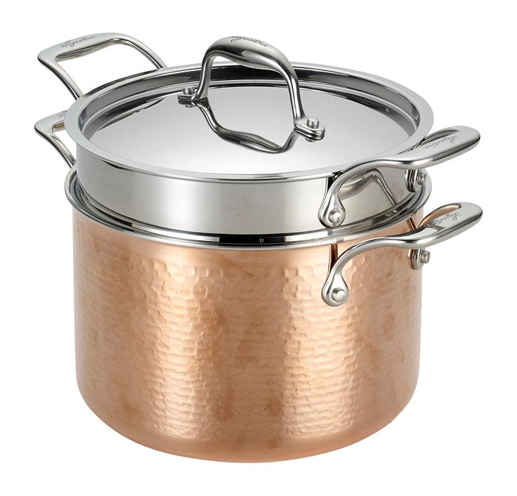 Lagostina Q5544864 Martellata Tri-ply Hammered Stainless Steel Copper Dishwasher Safe Oven Safe Pasta Pot with Lid and Pasta Insert Cookware, 6-Quart, Copper -- Trust me, this is great! Click the image. : Steamers, Stock and Pasta Pots