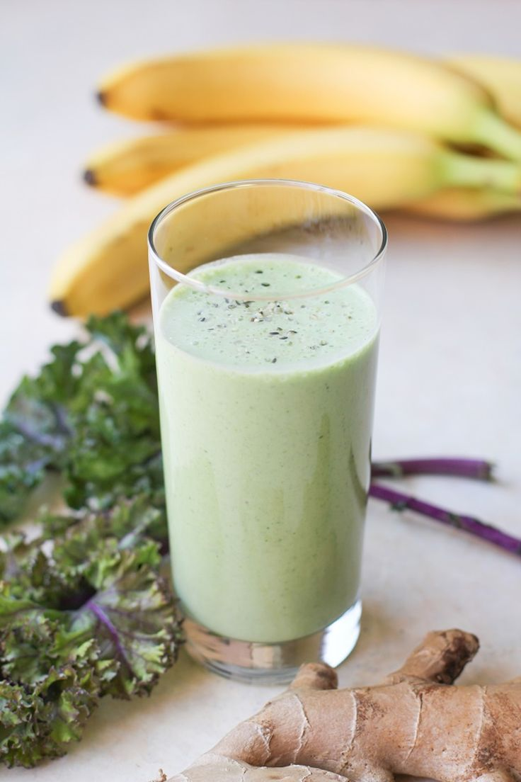 The basic goal of this healthy gut smoothie is to introduce a plethora of probiotics into your system, along with foods that not only aid in digestion, but also help heal and protect your stomach lining. For this smoothie recipe, you'll need kefir, coconut milk, bananas, kale, and ginger.
