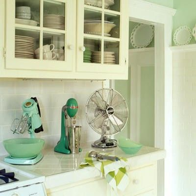 This is a cool picture because my mixer and my fan look like these, except my mixer is white!: Kitchens, Interior, Colors, Green, Kitchen Design, Kitchen Ideas, Vintage Kitchen