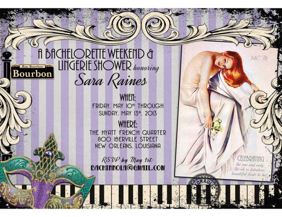 New Orleans Bachelorette Party Invitation with by HydraulicGraphix