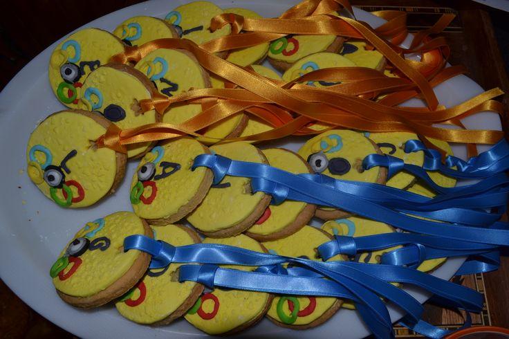 médailles olympiques des minions en pates à sucre
