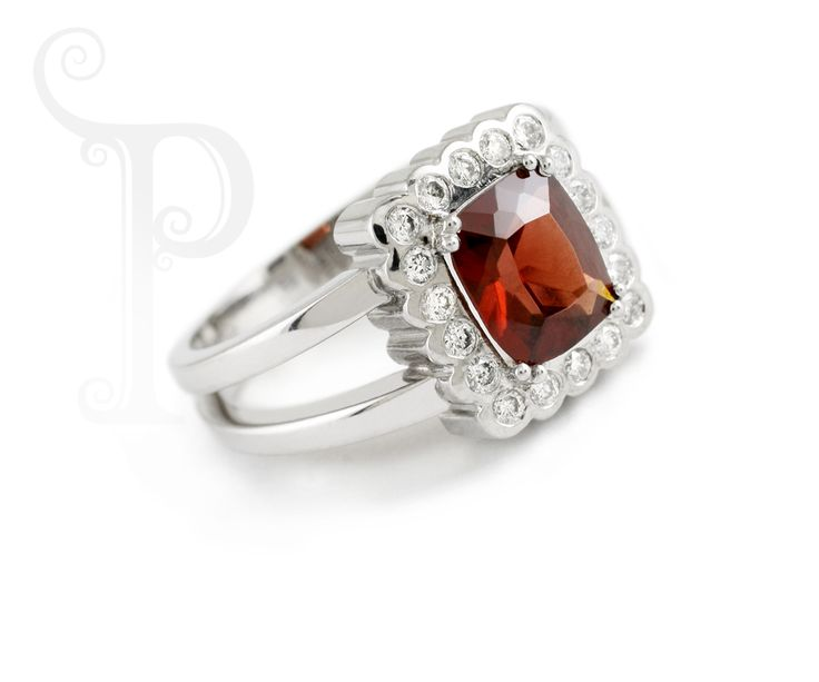 Handmade 18ct White Gold Cluster Ring, Double Claw Set Garnet with Round Brilliant Cut Diamonds
