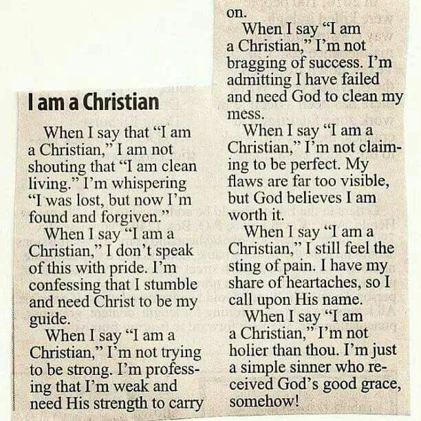 I am a Christian but the only perfection I claim is that of Jesus.