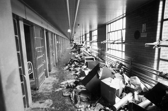 Scenes from the aftermath of the Attica Prison Riot, 1971.: