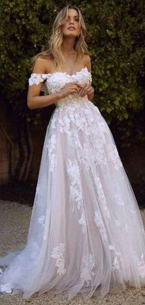A-Line Off Shoulder Tulle Long Wedding Dresses With Appliques,VPWD411
