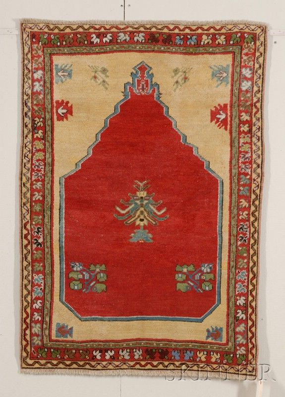 Kirsheir Prayer Rug, Central Anatolia, mid-19th century,  4 ft. 2 in. x 2 ft. 11 in.  | Skinner Auctioneers