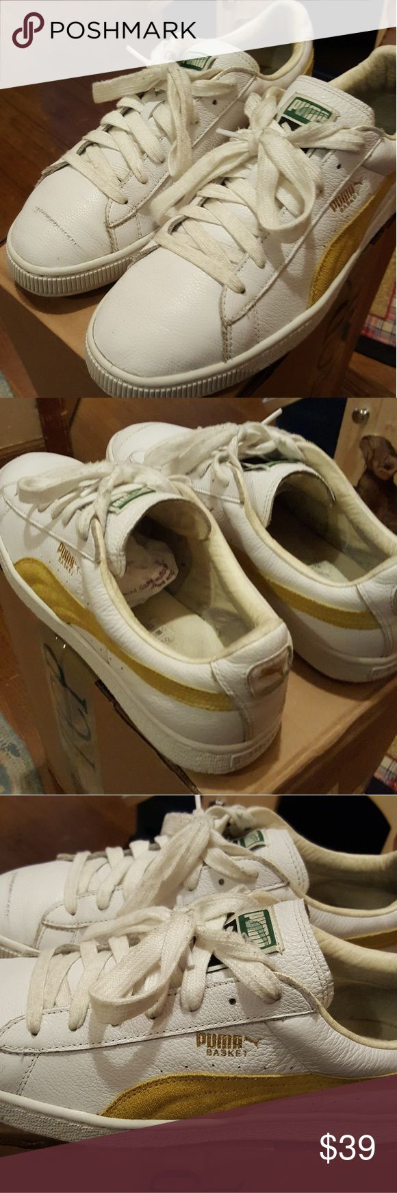 Clyde Pumas White/Yellow used Clyde Pumas Scratch on right sneaker...Can be covered by white shoe polish Puma Shoes Sneakers