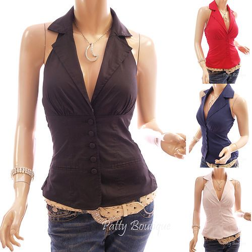 Smart Collar Button Front Padded Corset Top