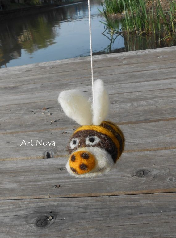 Felted bees mobile. Waldor mobile. by FelThink on Etsy