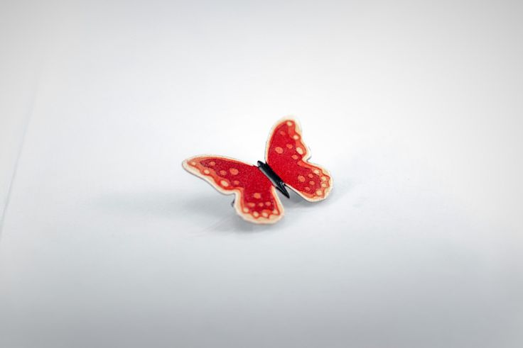 Red Butterfly Brooch Pin, Enameled Metal Stainless Steel, Handmade Jewelry, Colorful Brooch, Butterfly Jewelry, Enamel Pin, Butterfly Pin by CinkyLinky on Etsy