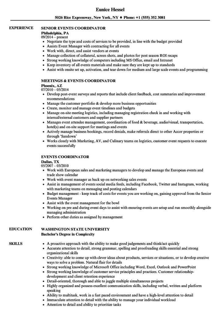 Event coordinator resume project manager resume