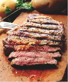 Marinated & Grilled London Broil-  You can marinate in a good Italian or Greek Salad Dressing