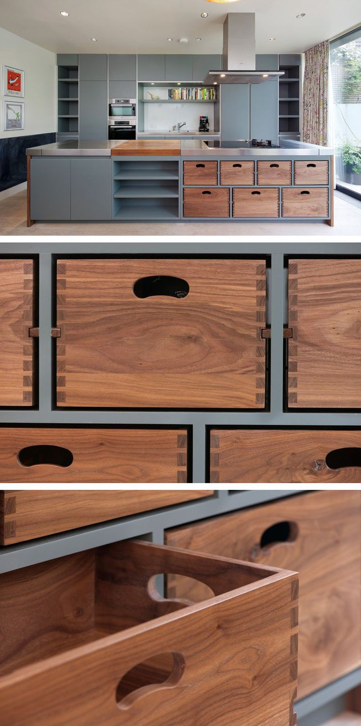 // kitchen island with removable dovetail boxes; not sure about the grey colour though