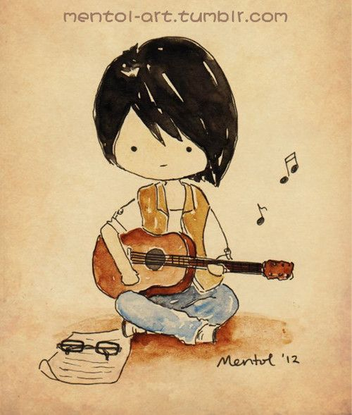Cartoons Girls With Guitars | Mentol Art | Cute Cartoon Characters Hand Drawings