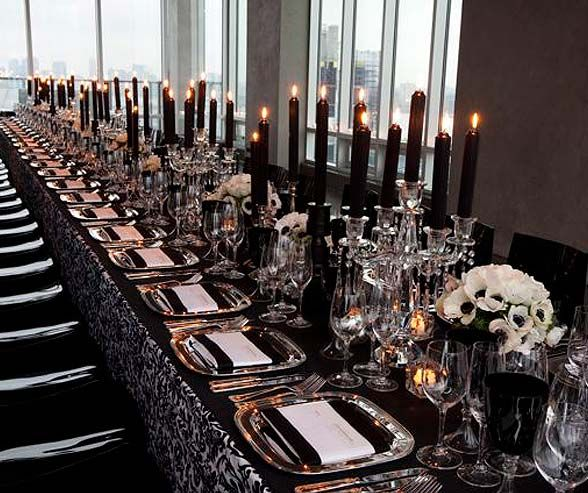 Dress A Single Long Table With Black And White Damask Linens Silver Square Chargers Crystal Candelabrum Taper Cand Special Times
