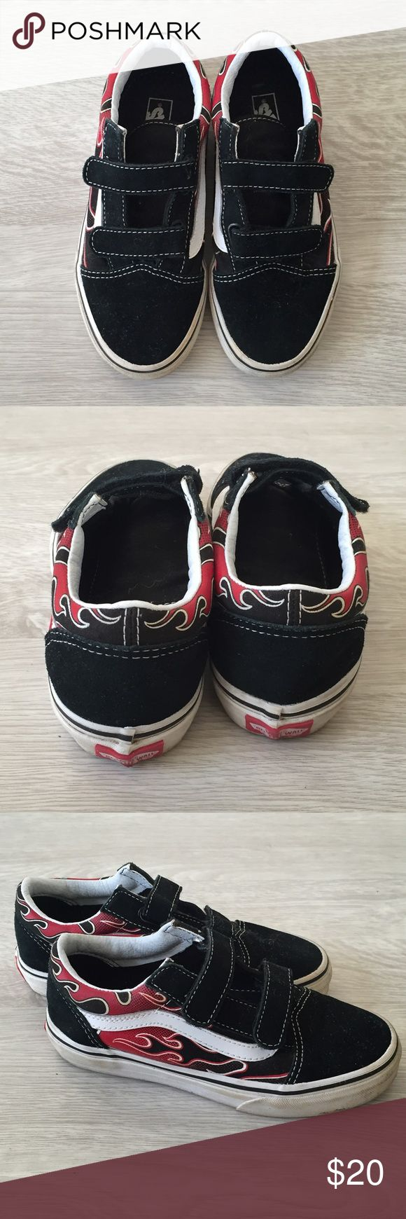 Boys Vans Shoes Boys Vans shoes with flame detail. Glow in the dark. Only worn a couple of times. Vans Shoes Sneakers