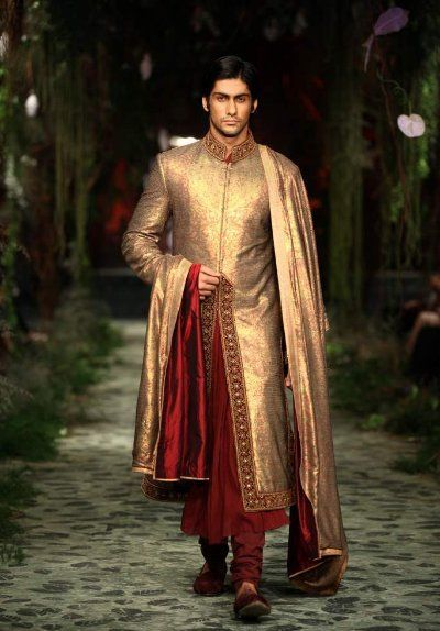 Antique gold and deep maroon - classic. - From the Tarun Tahiliani Wedding Collection