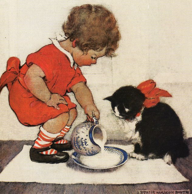 """img046 by sue-tarr, via Flickr; Sue's words:  I found this delightful picture on a card, it is by my favourite artist Jessie Willcox Smith.  Entitled """"Teatime for kitty"""".  It was used on the cover of Good Housekeeping magazine, March 1922.  Copyright The British Library board."""