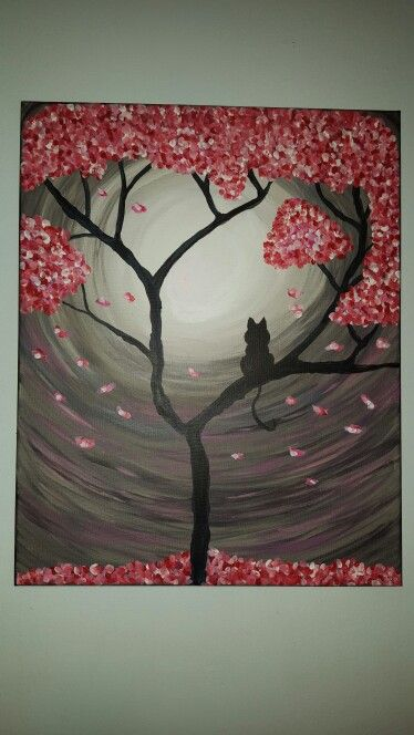 Paint nite acrylic Kitty in tree