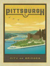 Америка Питтсбург Город Мосты Путешествия Плакат Классический Ретро Винтаж Крафт…