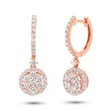 Lovely 1.29 18k rose gold birthstone july february gemstone april princess cut diamond earrings