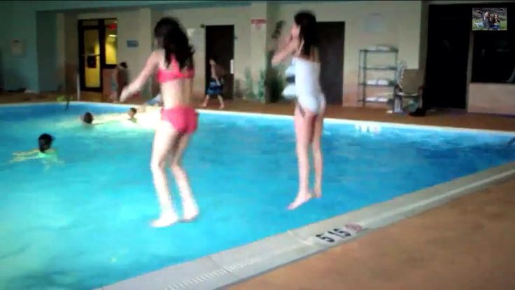 Bratayley annie and olivia jumping into the pool annie for Olivia s garden pool