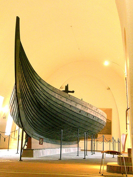 The Gokstad Viking ship. Little known fact: Norse ships began to use iron rivets beginning of 3rd cent AD (before they lashed planks together). Shipbuilders also put a tarred string of wool in the overlap between planks for a water tight seal, then the rivets went into place. Norsemen did not have saws...axes were the primary tool of choice.