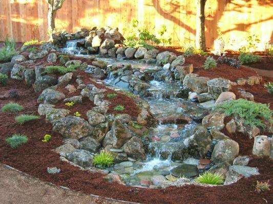 Pondless backyard falls